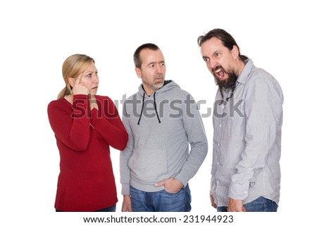 a Man is suffering about the tourette syndrome - stock photo
