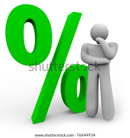 A man is thinking in front of a green percentage symbol, representing the comparison between different interest rates or statistics - stock photo