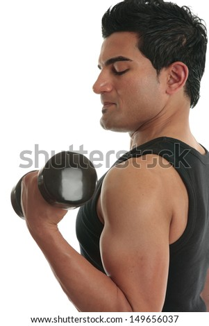 A man lifting weights or bodybuilding muscle tone. workout, power, powerful,  - stock photo