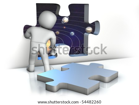 a man looking through an opened puzzle window into the space - stock photo