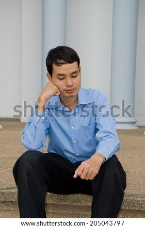 a man nap during the break - stock photo