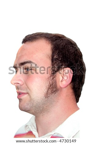 a man on a white background who is deep in thought - stock photo