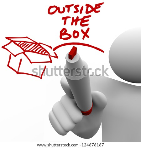 A man, person or guy writes the words Outside the Box with a red pen or marker next to an illustration of a box - stock photo