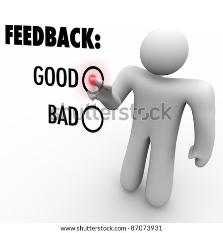 A man presses a button beside the word Good when giving feedback and opinions on a touch screen asking for positive or negative comments - stock photo