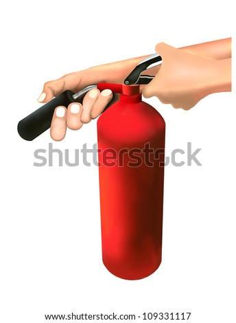 A Man Putting out Fire with Fire Extinguishers Isolated on White Background - stock photo