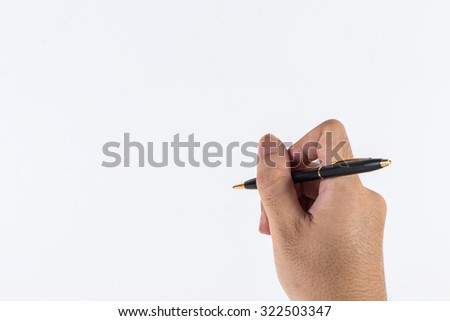 A man's hand handle with pen, writing - stock photo