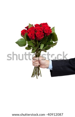 A man's hand holdng a dozen red roses on a white background with copy space - stock photo