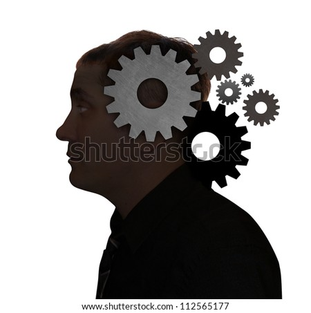 A man's head is filled with gears on a white isolated background. Use it for a education, idea or technology concept. - stock photo