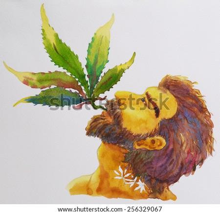 A man smoking marijuana pot, hippie, watercolor painting - stock photo