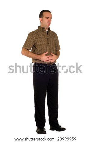 A man suffering from abdominal pains, isolated against a white background - stock photo