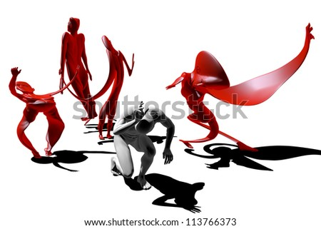 A man surrounded by his own fears - stock photo