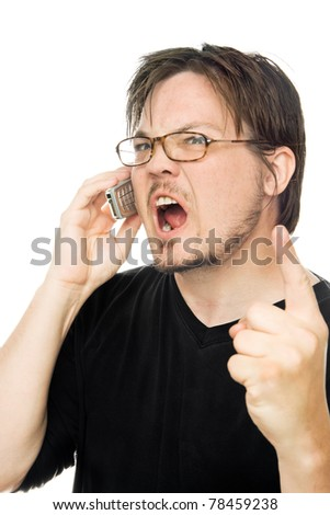 a man using a cell phone on a white background - stock photo