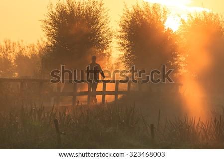 A man walking in the Dutch countryside on a foggy, orange sunrise in autumn. - stock photo