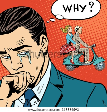 A man weeps love breakup cheating. The woman left with her lover on a scooter - stock photo