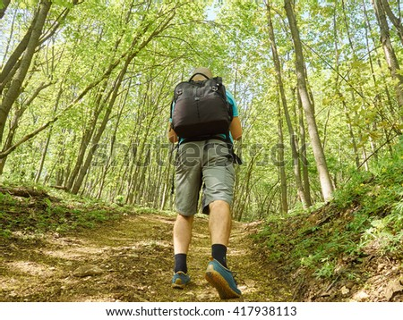 A man with a backpack walk uphill the forest trail .Hiking. - stock photo