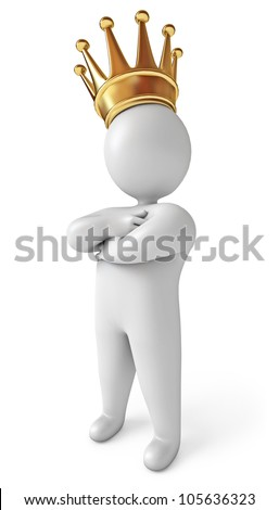 A man with a crown on his head. White background. 3d render - stock photo