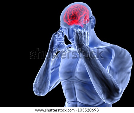 a man with a headache under x-ray. - stock photo