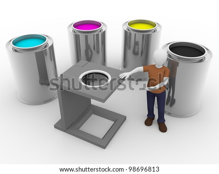 A man with a loupe and CMYK tints. Prepress concept - stock photo