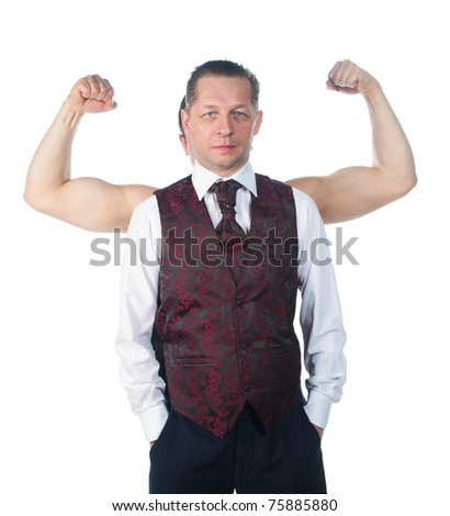 A man with biceps isolated on a white background - stock photo