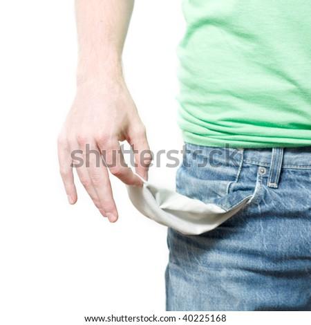 A man with empty pockets - stock photo