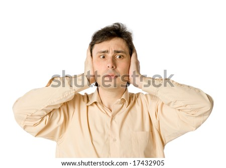 A man with frightened face, over white - stock photo
