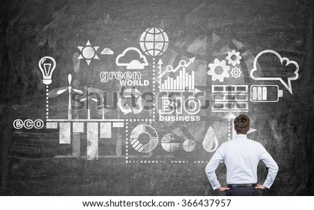 A man with hands on hips looking at symbols of alternative energy sources on a blackboard. Back view. Concept of clean environment. - stock photo