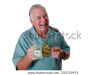 A man with money. A man with money has money to loan. Bank Loan. Money Broker. Loan Shark. Cash to lend.  - stock photo