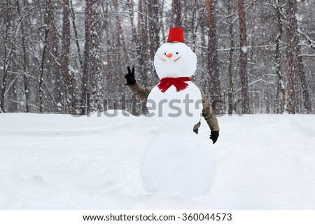 A man with peace gesture hided behind the snowman with red bucket and carrot in place of nose in winter forest, family winter concept - stock photo