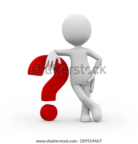 A man with red question mark on white background - stock photo