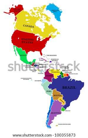 A map North and South America - stock photo