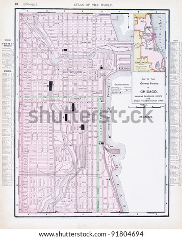 A map of Chicago, Illinois, USA from Spofford's Atlas of the World, printed in the United States in 1900, created by Rand McNally & Co. - stock photo