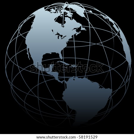 A map of Earth on a globe symbol with East West latitude longitude lines on a black background. - stock photo