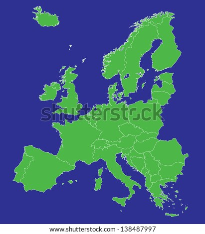 A map of Europe EU with country borders - stock photo