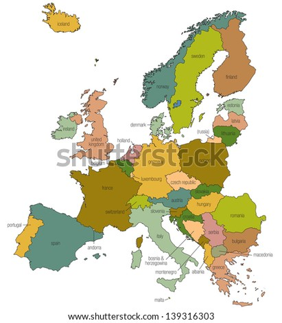 A map of Europe EU with country names called out and country boarders indicated - stock photo