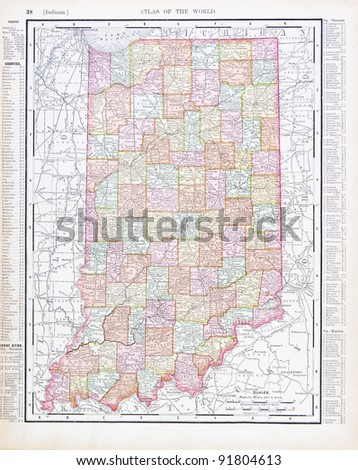 A map of Indiana, USA from Spofford's Atlas of the World, printed in the United States in 1900, created by Rand McNally & Co. - stock photo