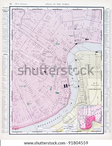 A map of New Orleans, Louisiana, USA from Spofford's Atlas of the World, printed in the United States in 1900, created by Rand McNally & Co. - stock photo