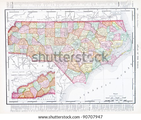 A map of North Carolina, USA from Spofford's Atlas of the World, printed in the United States in 1900, created by Rand McNally & Co. - stock photo