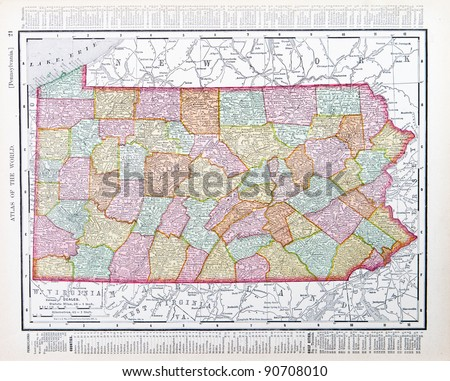 A map of Pennsylvania, USA from Spofford's Atlas of the World, printed in the United States in 1900, created by Rand McNally & Co. - stock photo