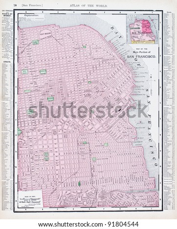 A map of San Francisco, California, USA from Spofford's Atlas of the World, printed in the United States in 1900, created by Rand McNally & Co. - stock photo