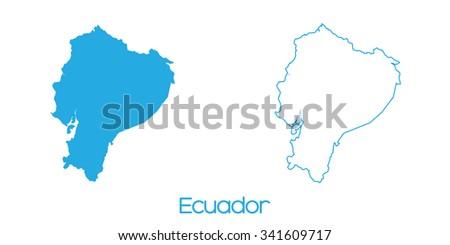 A Map of the country of _Ecuador - stock photo