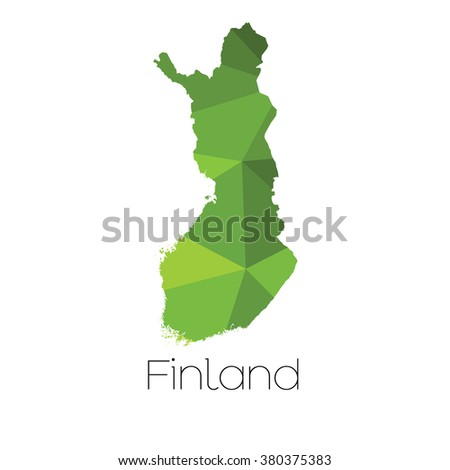 A Map of the country of Finland Finland - stock photo