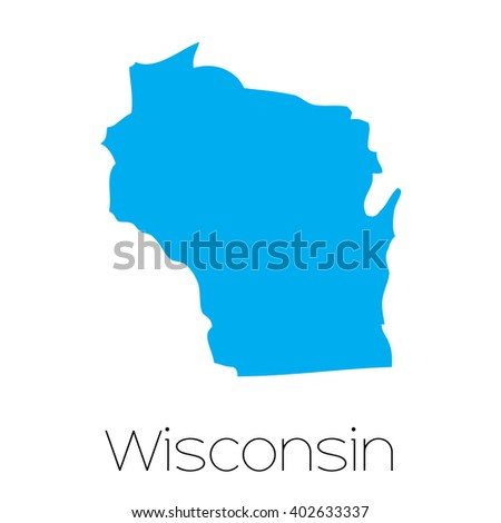 A Map of the the state  Wisconsin - stock photo