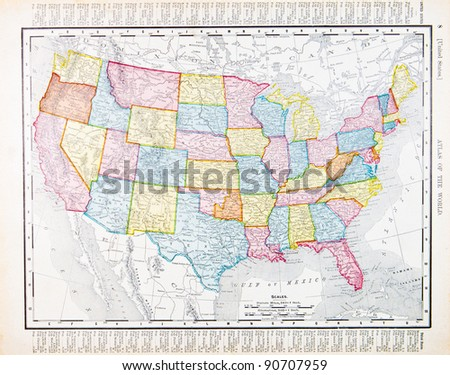 A map of the United States from Spofford's Atlas of the World, printed in the United States in 1900, created by Rand McNally & Co. - stock photo