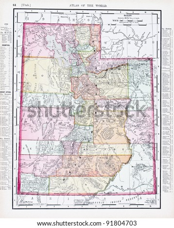 A map of Utah, USA from Spofford's Atlas of the World, printed in the United States in 1900, created by Rand McNally & Co. - stock photo
