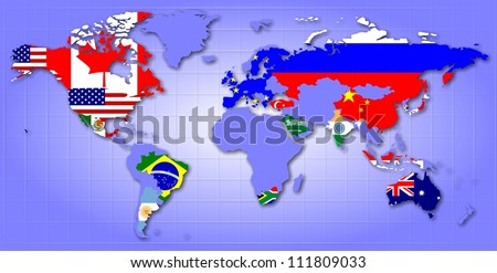 A map of world showing G20 member countries as their flags / G20 map - stock photo
