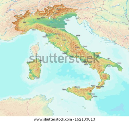 A map showing the topography of Italy. largest towns, rivers, and provinces are labeled. Elements of this image furnished by NASA - stock photo