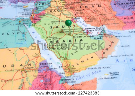 A map with a green map pin placed at Riyadh, Saudi Arabia  - stock photo