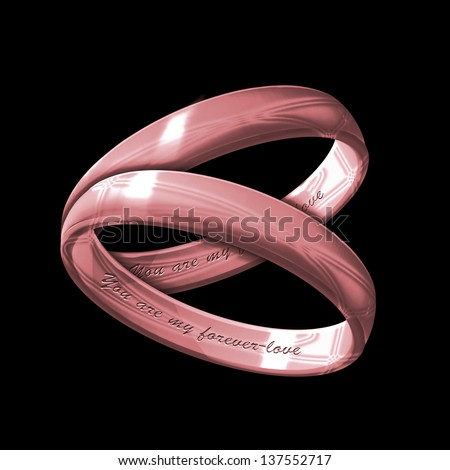 A matching pair of pink gold rings inscribed with You are my Forever-love on a black background - stock photo