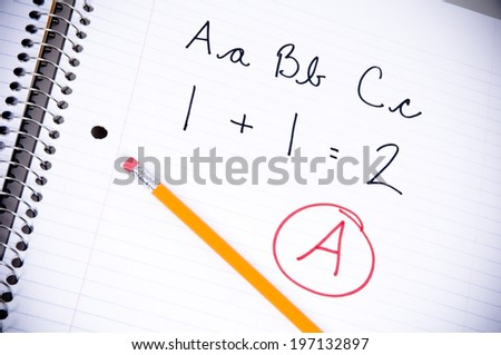 A math equation written on a piece of paper. - stock photo