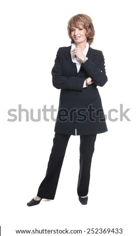 A Mature Business woman isolated on white background - stock photo